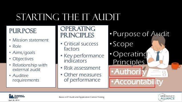 Basics in IT Audit and Application Control Testing April 28, 2019 Starting the IT audit •Authority •Accountability • Missi...