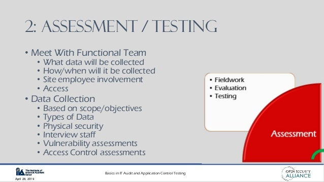 Basics in IT Audit and Application Control Testing April 28, 2019 2: ASSESSMENT / TESTING • Meet With Functional Team • Wh...