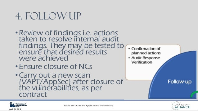 Basics in IT Audit and Application Control Testing April 28, 2019 4. Follow-up •Review of findings i.e. actions taken to r...