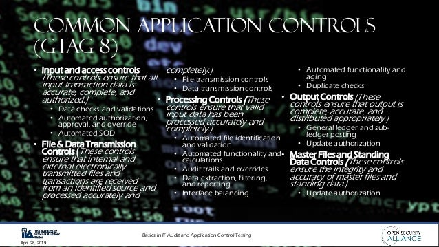 Basics in IT Audit and Application Control Testing April 28, 2019 Common Application Controls (GTAG 8) • Input and access ...
