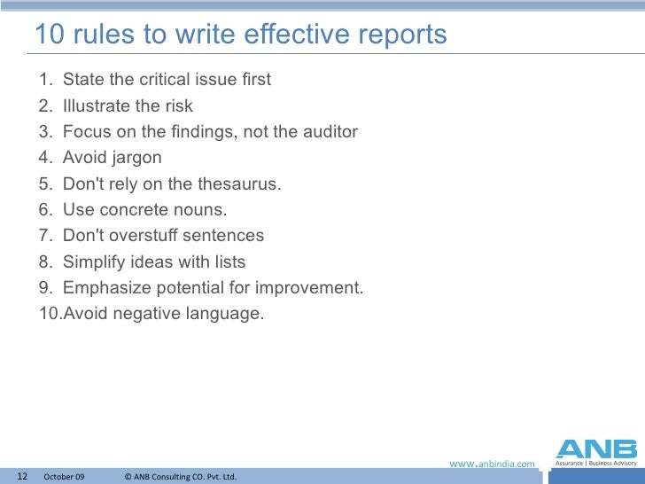 Report writing services rules numbers
