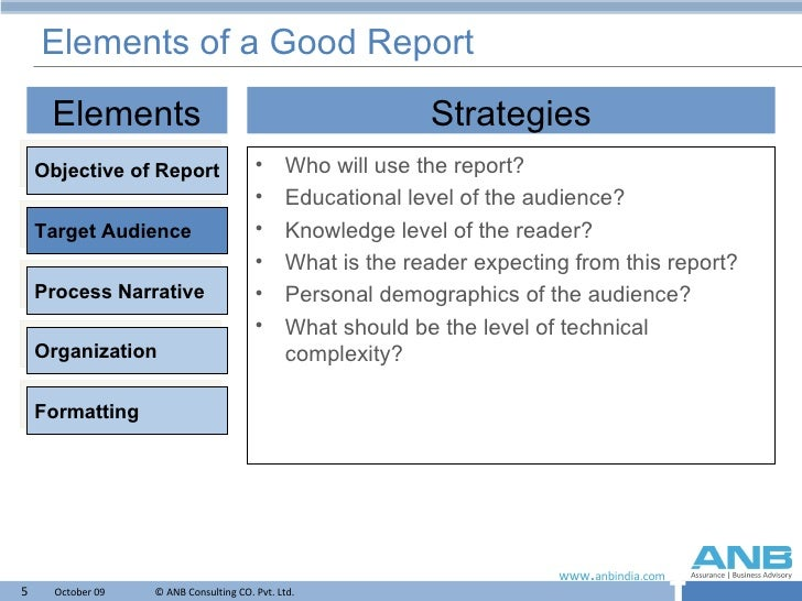 Elements of good report writing