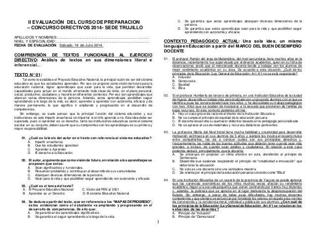 1 II EVALUACIÓN DEL CURSO DE PREPARACION – CONCURSO DIRECTIVOS 2014- SEDE TRUJILLO APELLIDOS Y NOMBRES:......................