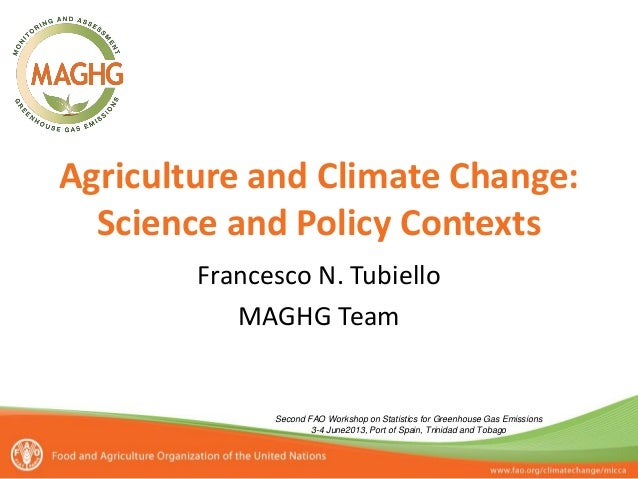 Agriculture and Climate Change: Science and Policy Contexts Francesco N. Tubiello MAGHG Team Second FAO Workshop on Statis...