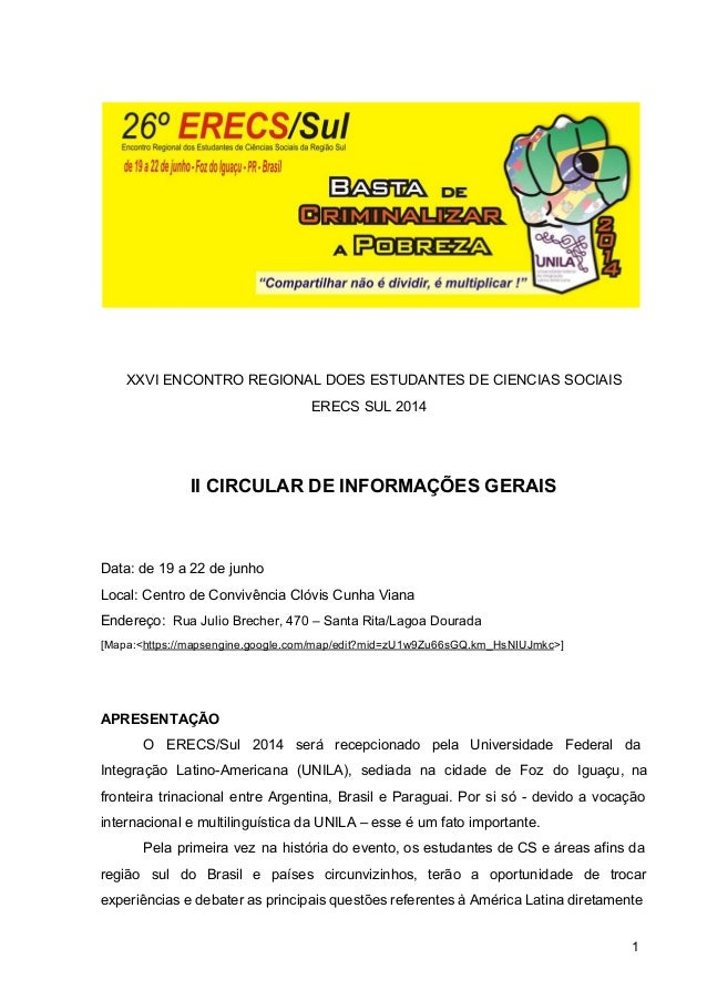 XXVIENCONTROREGIONALDOESESTUDANTESDECIENCIASSOCIAIS ERECSSUL2014   IICIRCULARDEINFORMAÇÕESGERAIS ...