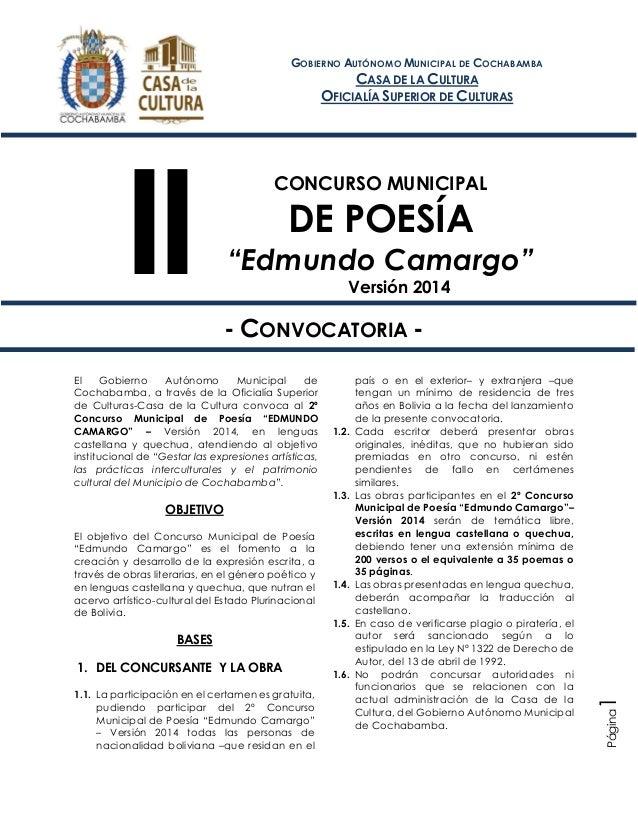 """II Concurso Municipal de Poesía """"Edmundo Camargo"""" Versión 2014 Página1 CONCURSO MUNICIPAL DE POESÍA """"Edmundo Camargo"""" Vers..."""