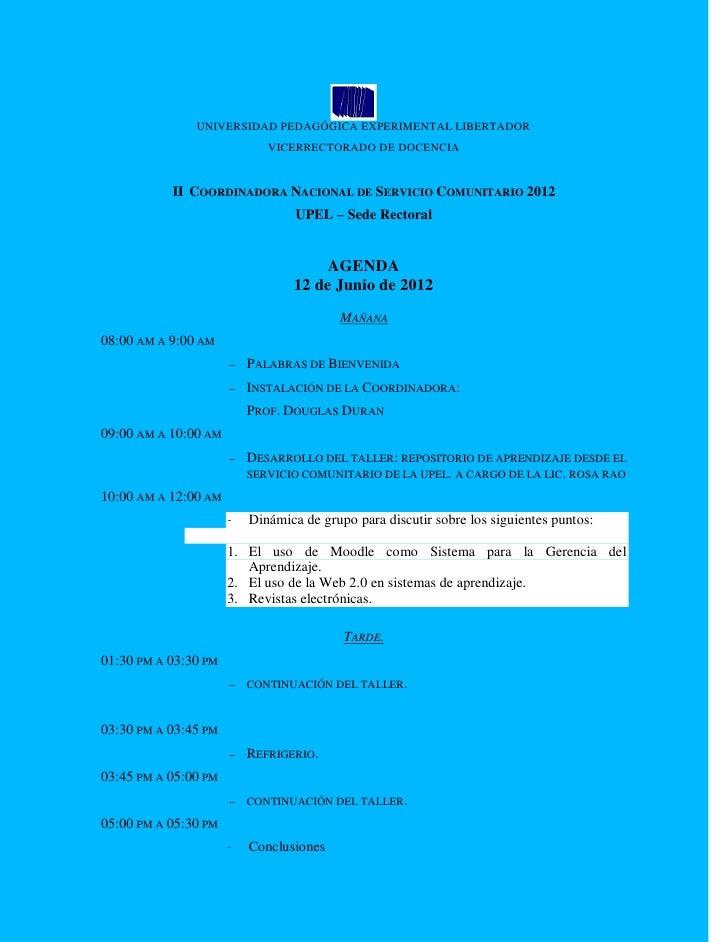 UNIVERSIDAD PEDAGÓGICA EXPERIMENTAL LIBERTADOR                             VICERRECTORADO DE DOCENCIA           II COORDIN...