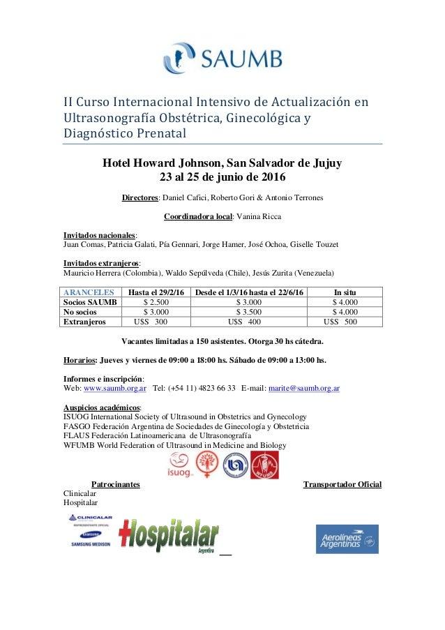 II Curso Internacional Intensivo de Actualizacion en Ultrasonografía Obstetrica, Ginecologica y Diagnostico Prenatal Hotel...