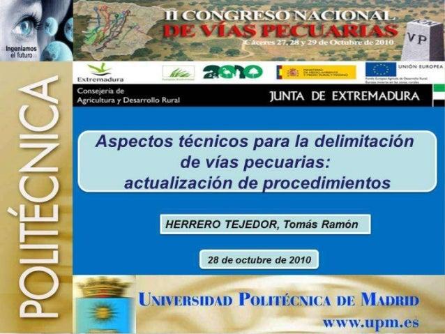 Aspectos técnicos para la delimitación de Vías Pecuarias (actualización de procedimientos)