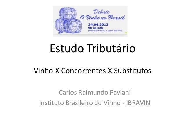 Estudo Tributário Vinho X Concorrentes X Substitutos Carlos Raimundo Paviani Instituto Brasileiro do Vinho - IBRAVIN