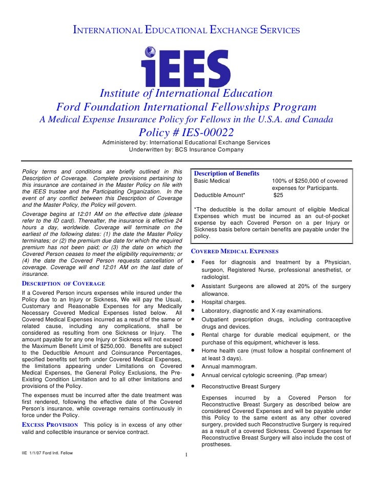 INTERNATIONAL EDUCATIONAL EXCHANGE SERVICES                              Institute of International Education             ...