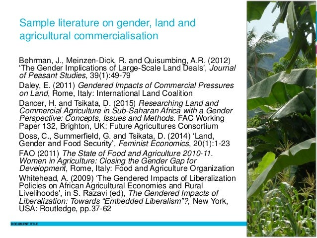 DOCUMENT TITLE 13 Philippine Sutz 2 February 2016 Sample literature on gender, land and agricultural commercialisation Beh...