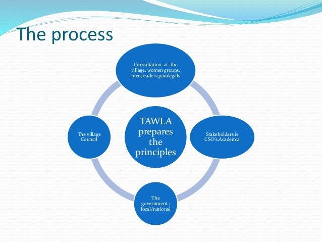 The process TAWLA prepares the principles Consultation at the village; women groups, men,leaders,paralegals Stakeholders i...