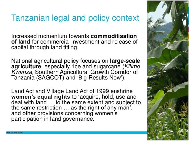 DOCUMENT TITLE 7 Philippine Sutz 2 February 2016Tanzanian legal and policy context Increased momentum towards commoditisat...