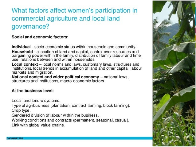 DOCUMENT TITLE 8 Philippine Sutz 2 February 2016 What factors affect women's participation in commercial agriculture and l...