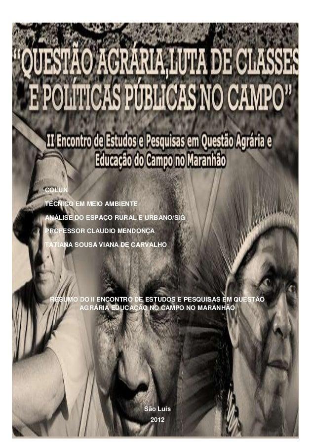 COLUNTÉCNICO EM MEIO AMBIENTEANÁLISE DO ESPAÇO RURAL E URBANO/SIGPROFESSOR CLAUDIO MENDONÇATATIANA SOUSA VIANA DE CARVALHO...