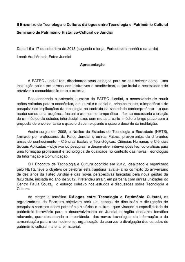 II Encontro de Tecnologia e Cultura: diálogos entre Tecnologia e Patrimônio Cultural Seminário de Patrimônio Histórico-Cul...