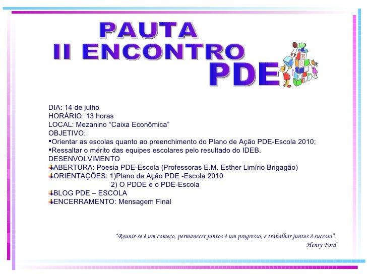 II Encontro PDE-ESCOLA