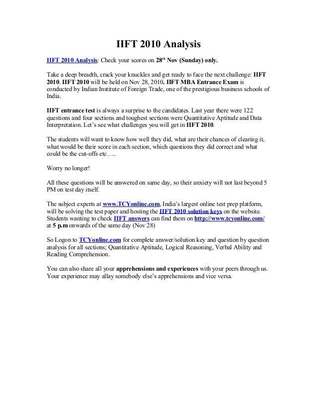 IIFT 2010 QUESTION PAPER PDF DOWNLOAD