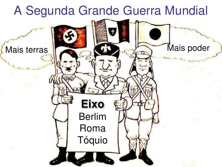 A Segunda Grande Guerra Mundial<br />Mais poder<br />Mais terras<br />Eixo Berlim Roma Tóquio<br />