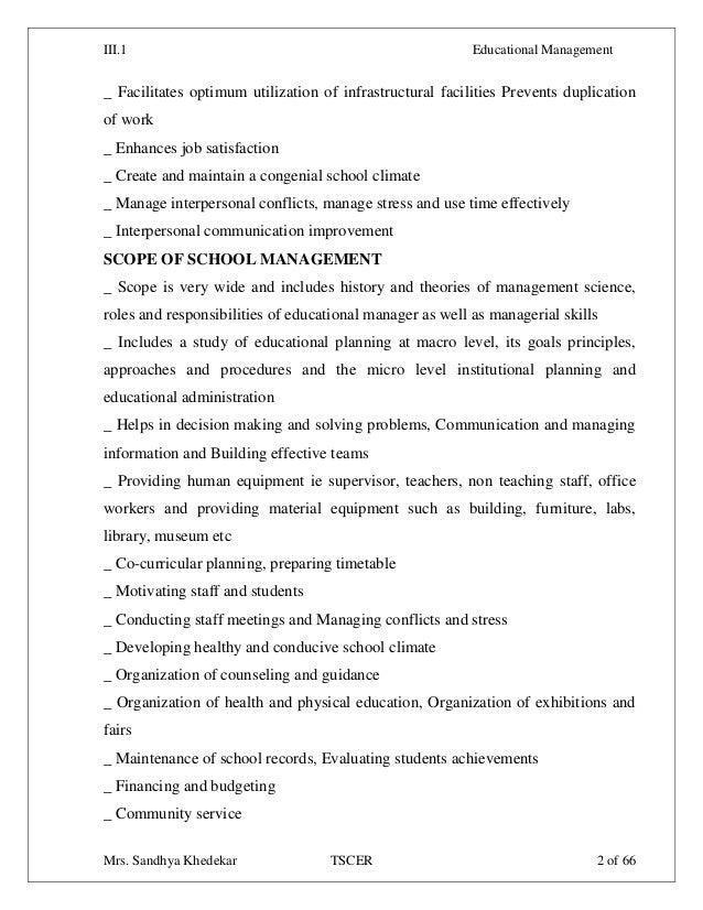 ... Institute; 2. III.1 Educational Management ...