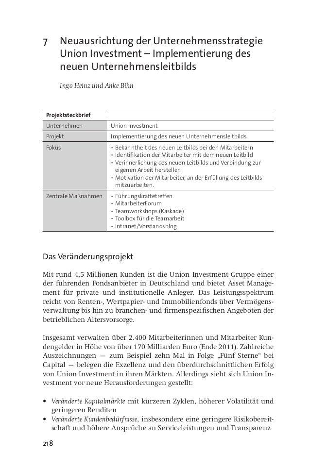 218 7 Neuausrichtung der Unternehmensstrategie Union Investment – Implementierung des neuen Unternehmensleitbilds  Ingo ...
