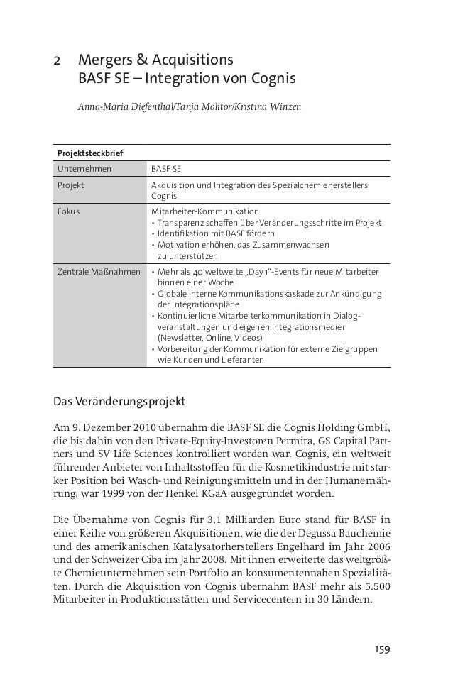 159 2	 Mergers & Acquisitions BASF SE – Integration von Cognis 	 Anna-Maria Diefenthal/Tanja Molitor/Kristina Winzen Proje...