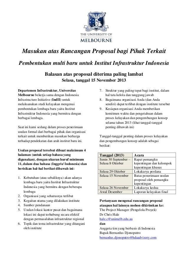 Masukan atas Rancangan Proposal bagi Pihak Terkait Pembentukan multi baru untuk Institut Infrastruktur Indonesia Balasan a...