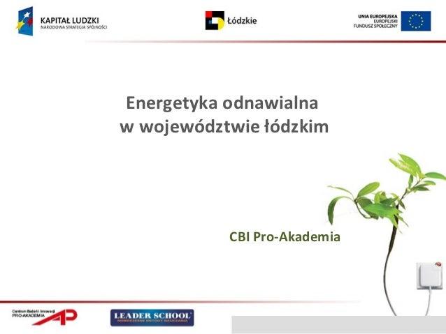 Energetyka odnawialnaw województwie łódzkim           CBI Pro-Akademia