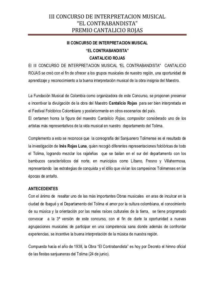 """III CONCURSO DE INTERPRETACION MUSICAL                       """"EL CONTRABANDISTA""""                     PREMIO CANTALICIO ROJ..."""