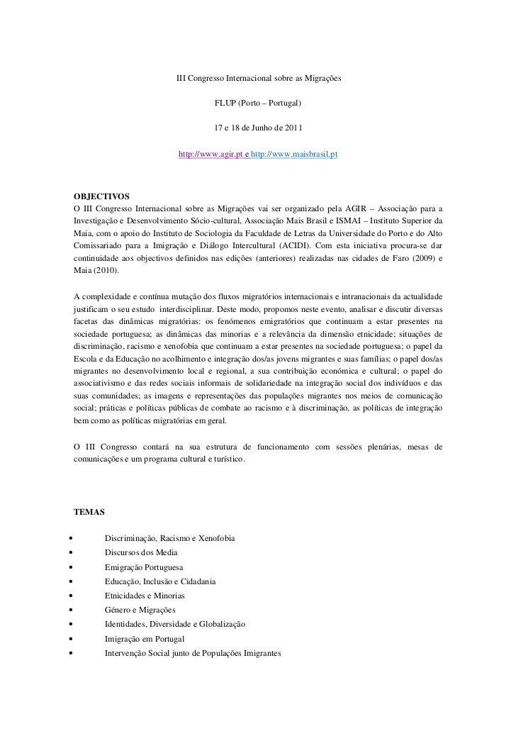 III Congresso Internacional sobre as Migrações                                            FLUP (Porto – Portugal)         ...