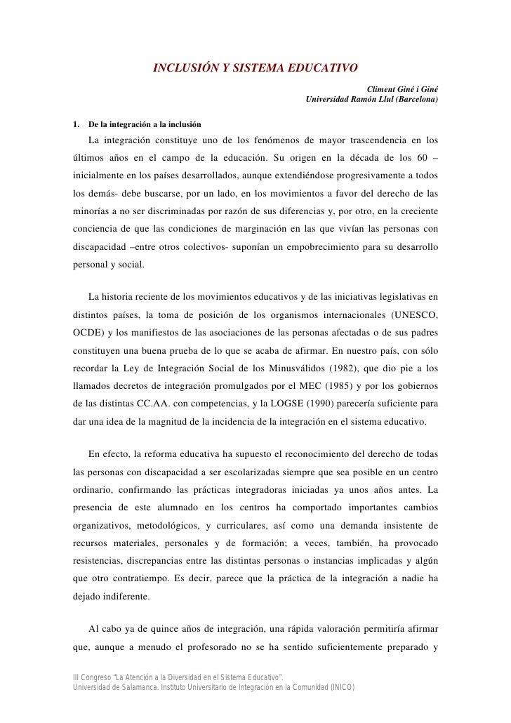INCLUSIÓN Y SISTEMA EDUCATIVO                                                                                       Climen...