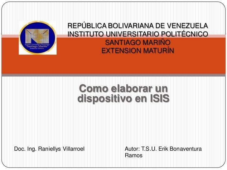 REPÚBLICA BOLIVARIANA DE VENEZUELA                      INSTITUTO UNIVERSITARIO POLITÉCNICO                               ...