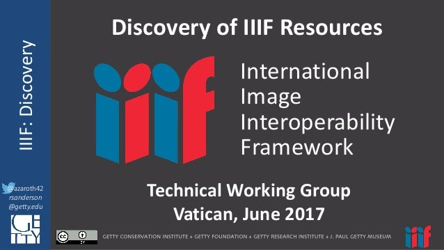 @azaroth42 rsanderson @getty.edu IIIF:	   InteroperabilituyIIIF:	   Discovery @azaroth42 rsanderson @getty.edu Discovery	 ...