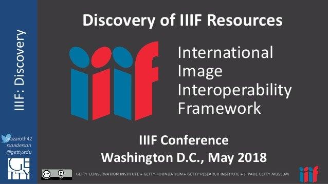 @azaroth42 rsanderson @getty.edu IIIF:InteroperabilituyIIIF:Discovery @azaroth42 rsanderson @getty.edu DiscoveryofIIIF...