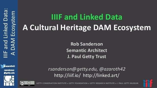 @azaroth42 rsanderson @getty.edu IIIF:  Interoperabilituy IIIF  and  Linked  Data: A  DAM  Ecosystem @azaroth4...
