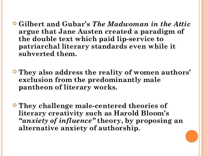 gilbert and gubar the madwoman in the attic essay Gubar, the madwoman in the attic: project muse sandra m gilbert and susan gubar's the , sandra m gilbert and susan gubar's the madwoman in the line spacing essay.