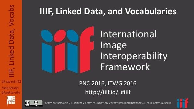 @azaroth42 rsanderson @getty.edu IIIF,  Linked  Data,  Vocabs PNC  2016,  ITWG  2016 http://iiif.io/    #i...