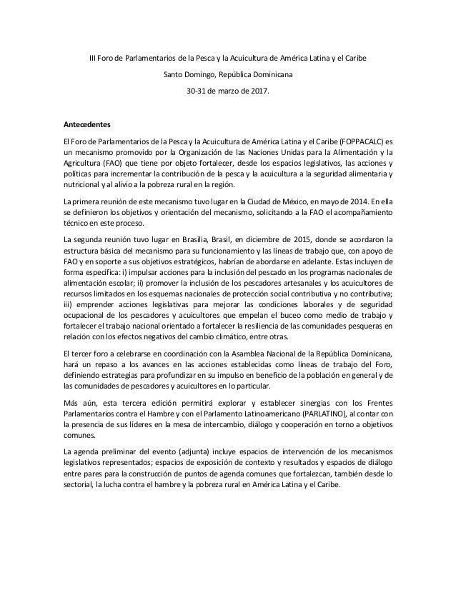 III Foro de Parlamentarios de la Pesca y la Acuicultura de América Latina y el Caribe Santo Domingo, República Dominicana ...