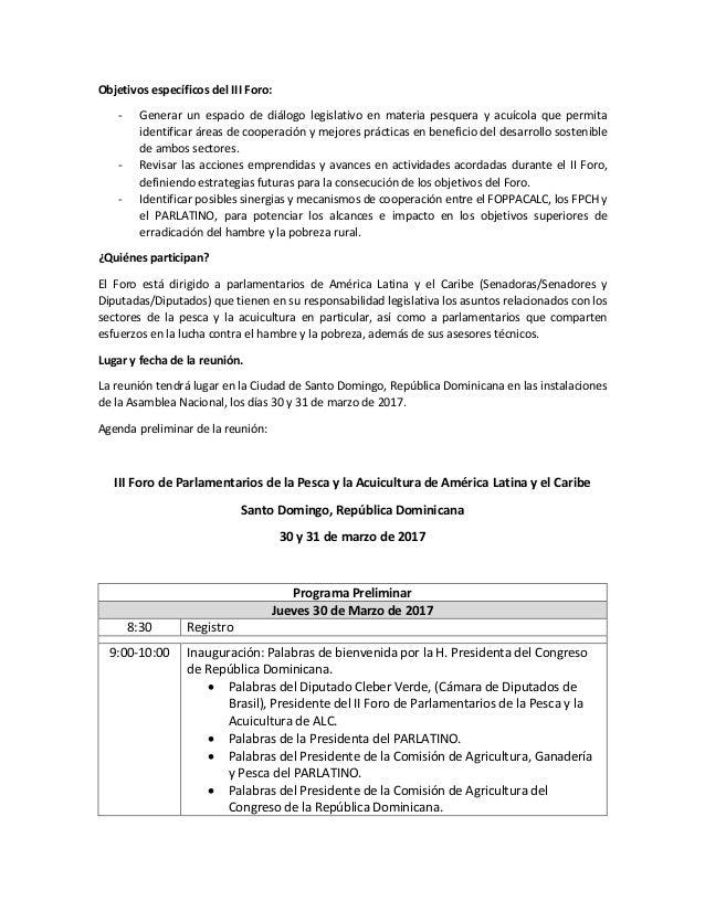 Agenda III Foro de Parlamentarios de la Pesca y la Acuicultura de América Latina y el Caribe Slide 2