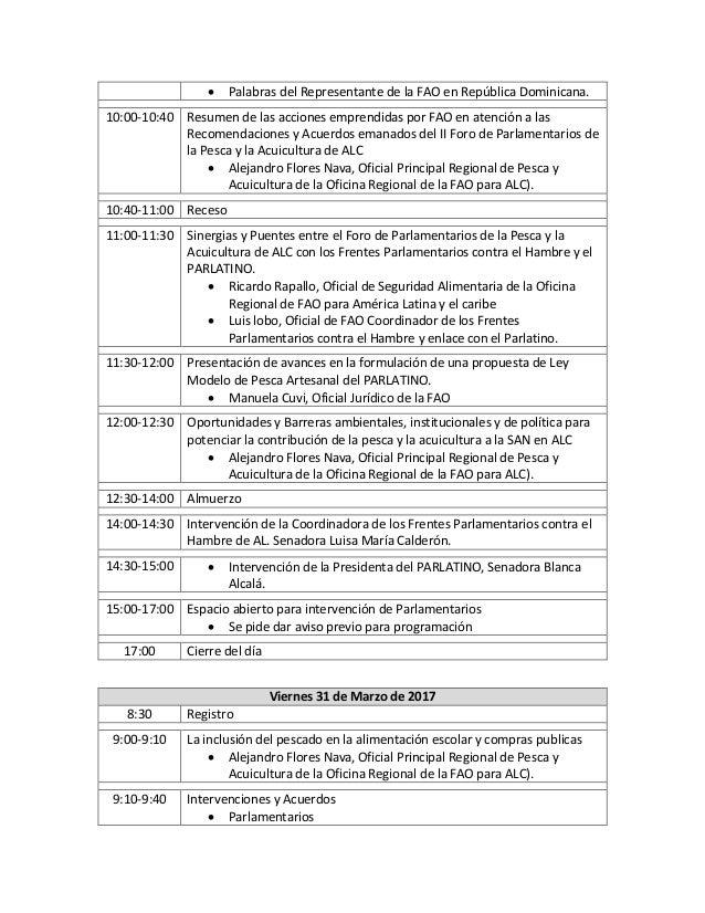 Agenda III Foro de Parlamentarios de la Pesca y la Acuicultura de América Latina y el Caribe Slide 3