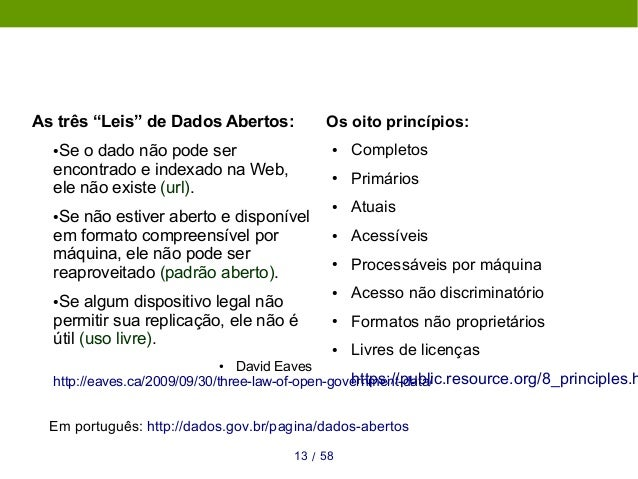 """5813 / As três """"Leis"""" de Dados Abertos: ●Se o dado não pode ser encontrado e indexado na Web, ele não existe (url). ●Se nã..."""