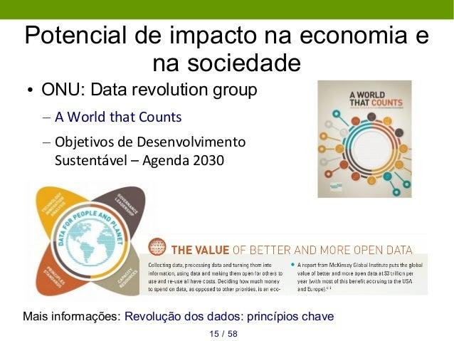 Potencial de impacto na economia e na sociedade ● ONU: Data revolution group – A World that Counts – Objetivos de Desenvol...