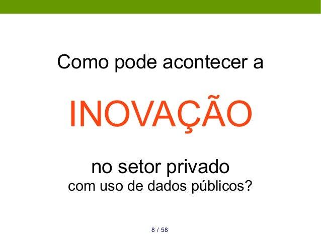 Como pode acontecer a INOVAÇÃO no setor privado com uso de dados públicos? 588 /