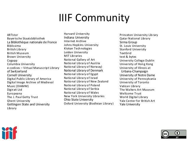 IIIF Community ARTstor Bayerische Staatsbibliothek La Bibliothèque nationale de France Biblissima British Library British ...