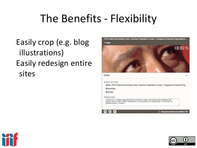The Benefits - Flexibility Easily crop (e.g. blog illustrations) Easily redesign entire sites