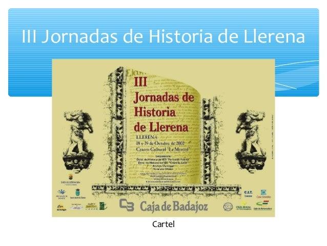 III Jornadas de Historia de Llerena Cartel