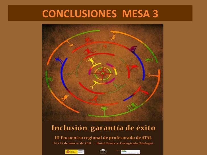 CONCLUSIONES  MESA 3