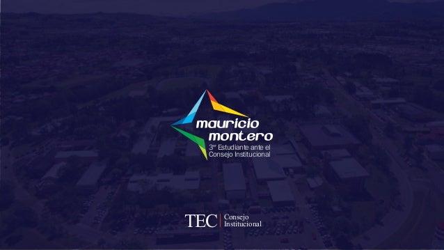 Mauricio Montero 3 Estudiante ante el Consejo Institucional er Consejo InstitucionalTECTECTEC