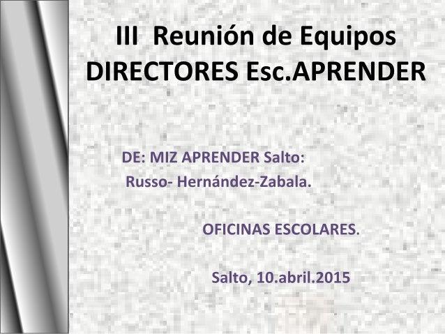 Coordinación Programa A.PR.EN.D.E.R 2015